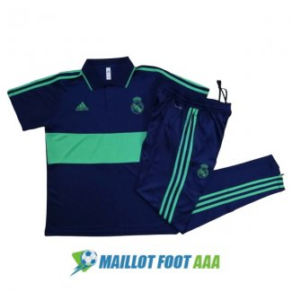 polo kit real madrid entrainement 2020-2021 bleu fonce vert