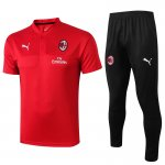 polo kit ac milan entrainement 2019-2020 rouge