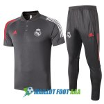 polo kit real madrid entrainement 2020-2021 gris fonce