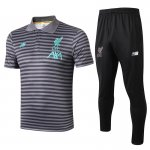 polo kit liverpool entrainement 2019-2020 rayure gris fonce vert