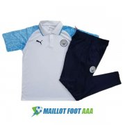 polo kit manchester city entrainement 2020-2021 blanc bleu rayure