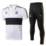 polo kit real madrid entrainement 2019-2020 blanc noir