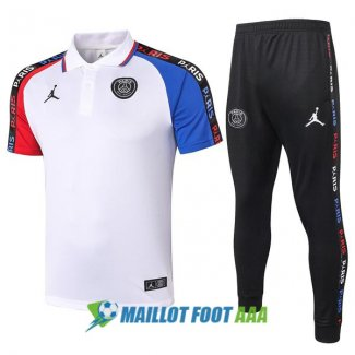 polo kit paris saint germain jordan entrainement 2020-2021 blanc rouge bleu