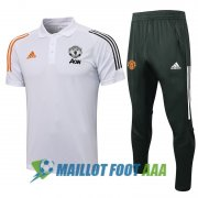 polo kit manchester united entrainement 2021-2022 blanc orange