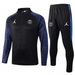 survetement foot paris saint germain jordan 2019-2020 fermeture eclair noir bleu