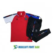 polo kit paris saint germain jordan entrainement 2020-2021 blanc bleu rouge
