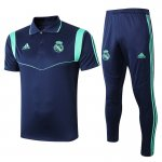 polo kit real madrid entrainement 2019-2020 bleu fonce vert