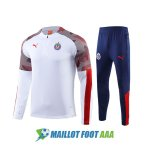 survetement foot chivas de guadalajara 2020-2021 fermeture eclair blanc brown rouge