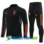 survetement foot juventus 2020-2021 fermeture eclair noir orange