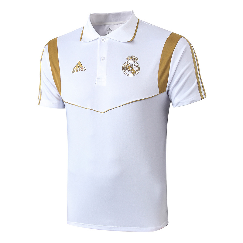 polo kit real madrid entrainement 2019-2020 blanc or